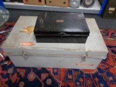 A twentieth century metal trunk and dead box