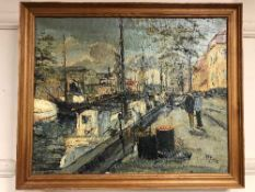 Continental School : Figures by a canal, oil on canvas, framed.