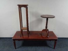 A rectangular mahogany coffee table together with an Edwardian two tier plant stand and a wine