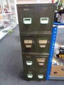 Four twentieth century green metal twin drawer index chests