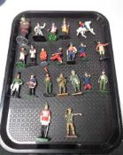 A tray of military figures,
