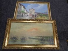 Two framed oils on canvas - village and coast