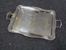 A plated twin handled serving tray