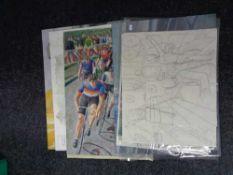A Simon Jones artist's folio of pictures