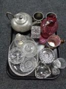 A tray of castle pewter tea pot, two tankards and assorted glass ware, antique cranberry jug,
