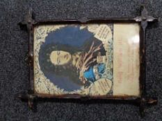 A framed colour print - King William III No Surrender in antique rustic frame