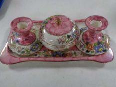 A four piece Maling Peony Rose trinket set