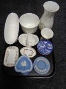 A tray of assorted Wedgwood china, Jasper ware dishes,