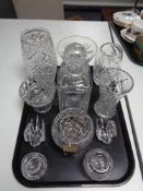 A tray of glass ware, crystal decanter, vases,