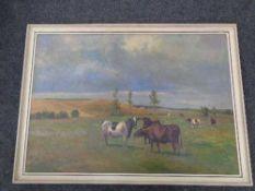 A twentieth century continental school oil painting - Cattle grazing