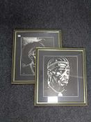 Two black and white portrait prints signed DMR