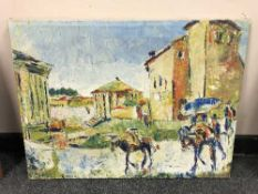 Continental School : oil on canvas, figures in a street.
