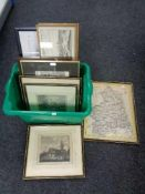 A box of framed prints, hand coloured map of Northumberland,