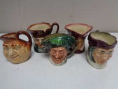 Five small Royal Doulton character jugs - John Barley Corn, The Cardinal,
