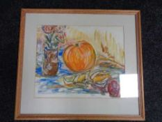 A framed still life watercolour