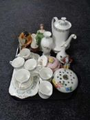 A tray of china, Royal Doulton Sailor figure HN 442, part Paragon Pandora coffee set, figurines,