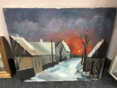 Continental School : oil on canvas depicting a snowy lane