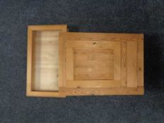 A pine counter top display cabinet and a pine wall cabinet