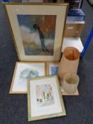 A box of four framed watercolours - Sadler, Tristen etc and prints,