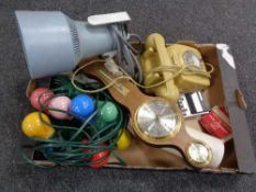 A box of UV lamp, barometer,