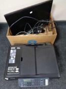 A box of computer monitor, leads,