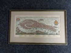 A black and gilt hand coloured map of venice CONDITION REPORT: 46 cm x 22.
