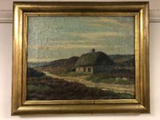 Continental School : Thatched hut, oil on canvas, framed.