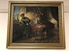 Continental School : oil on board depicting a gentleman reading by a balcony
