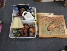 Two boxes of wooden ornaments, china swan planter,