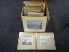 A box of gilt framed prints, Grimm Durham Cathedral,