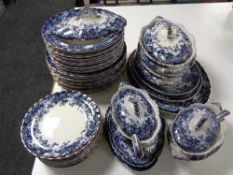 A quantity of antique Chatsworth blue and white dinner ware,