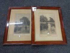 A nineteenth century black and white framed J E Grace engraving - pond with field beyond,
