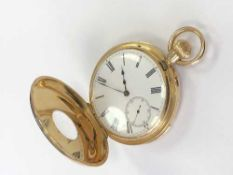 An 18ct gold half hunter minute repeating pocket watch CONDITION REPORT: 122.
