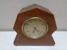 An early twentieth century Swiss made Art Deco eight day mantel clock