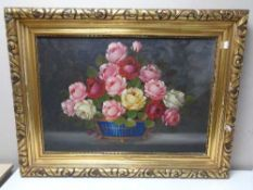 A gilt framed oil on canvas - Still life with roses in a bowl