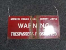 A Northern Ireland trespasser warning notice