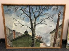 Continental School : Tree in front of buildings, oil on canvas.