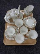 A tray of twenty three pieces of Duchess Greensleeves tea china