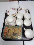A tray of Queen Elizabeth II coronation tin together with six Duchess china trios