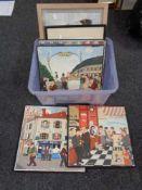 A box of four Jieckmann twentieth century prints on board depicting Paris street scenes,