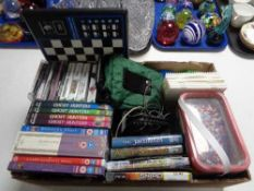 A box of electronic chess board, Nintendo DS games, Hama beads,
