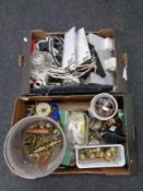Two boxes of electrical cables, brass door furniture,