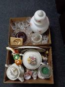 Two boxes of Italian flower encrusted lidded comport and teapot, glass ware,