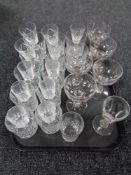 A tray of drinking glasses,