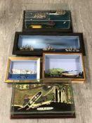 Five dioramas depicting sailboats, mercantile dock etc, largest 68cm wide.