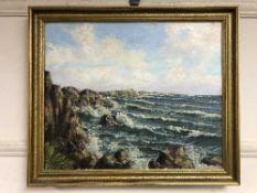 Continental School : Choppy water, oil on canvas, framed.