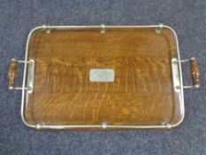 An Edwardian oak and silver plated gallery tray 56 cm x 34 cm.