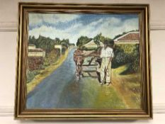 Continental School : oil on canvas depicting a farmer with cattle
