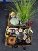 Two boxes of contemporary vases, metal candle holders,