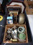 Two boxes of Meerkat soft toys, contemporary figurines, glass ware,